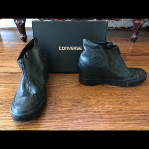 Converse black leather zip up wedge size 9